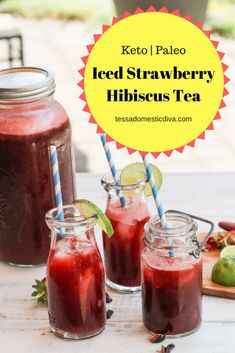 Keto Strawberry Hibiscus Tea - #hibiscustea #aguadejamaica #ketodrinkrecipes #ketostrawberryrecipes