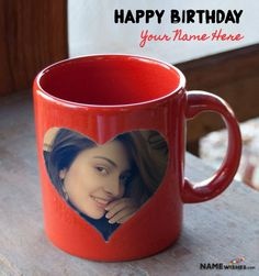 Red Birthday Mug With Photo and Name - Personalized Gift. This beautiful Red birthday Mug gift can be send to your loved one or your friend on his/her birthday. Add photo and Name in order to make it special.