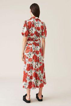 90s Hot Pink Floral Dress  Chiffon Floaty Dresses  Short Sleeve Crinkle Fabric Midi V Neck Sheer Size 12 Large Party Feminine Girly
