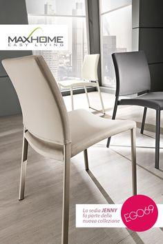 Lo schienale curvato rende JENNY un'ottima soluzione per coniugare il comfort a uno stile discreto ed elegante.