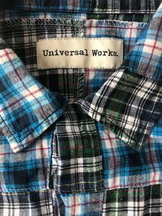 Universal Works shirt Large blue check patchwork short sleeve P2P 22 inches. #mensfashion #slowfashion #universalworks #reclaimedclothing #qualityshirts Slow Fashion, Mens Fashion, Universal Works, Blue Check, Plaid Scarf, Online Price, Best Deals, Sleeve, Shirts