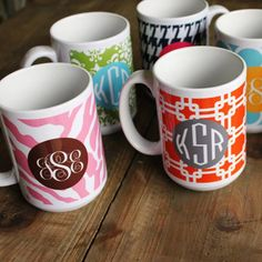 Monogram Mugs made in USA.