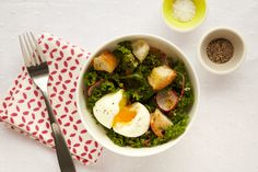 mustard greens and soft boiled egg