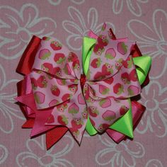 Sweet Strawberry Hair Bow by MegansHairCandy on Etsy, $8.00