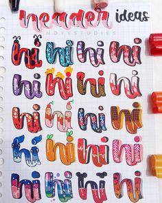 Bullet Journal Headers, Bullet Journal Lettering Ideas, Journal Fonts, Bullet Journal Notebook, Bullet Journal School, Bullet Journal Ideas Pages, Bullet Journal Inspiration, Hand Lettering Tutorial, Hand Lettering Alphabet