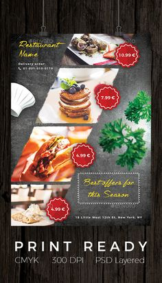 Buy Restaurant and Cafe Offer Flyer by LuckyBear on GraphicRiver. A modern, professional and clean flyer and poster template. Flyer template will help you to advertise your offer for . Restaurant Advertising, Restaurant Poster, Restaurant Menu Design, Restaurant Restaurant, Fast Food Advertising, Advertising Flyers, Restaurant Marketing, Food Graphic Design, Food Menu Design