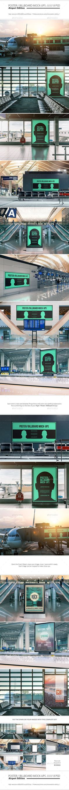 Poster / Billboard Mock-ups - Airport Edition #design Buy Now: http://graphicriver.net/item/poster-billboard-mockups-airport-edition/12875743?ref=ksioks