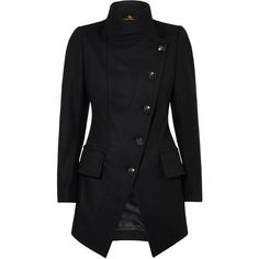 Black State Coat (31,940 THB) ❤ liked on Polyvore featuring outerwear, coats, jackets, tops, fitted coat, black wool coat, black coat, high collar coat and wool coat
