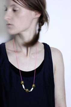 Neon Golden  Necklace with fishing beads von ChezKristel auf Etsy, $24.00