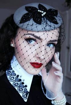 Vintage Makeup which board to put this on, makeup, hats or vintage - black and gray fascinator with viel - cool hat - Mode Vintage, Vintage Girls, Vintage Black, Vintage Dresses, Vintage Outfits, Vintage Fashion, 1930s Fashion, Vintage Glamour, Victorian Fashion