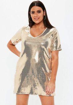 7fe3c5f166e Missguided Plus Size Gold V Neck Sequin T Shirt Dress