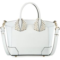 Christian Louboutin Eloise Small Leather Tote Bag ($1,750) ❤ liked on Polyvore featuring bags, handbags, tote bags, handbags totes, white, white tote bag, leather handbags, leather tote and white leather tote bag