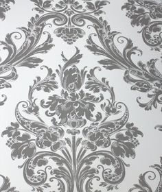 Pink and White Damask Wallpaper | Damask Princess Ash Grey on White Kids Wallpaper | designyourwall.com