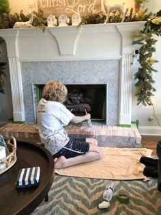 How to Add Herringbone Marble Tile to a Fireplace - Southern Hospitality Southern Sayings, Southern Girls, Southern Living, Tile Around Fireplace, Fireplace Surrounds, Fireplace Ideas, Country Girl Quotes, Country Girls, Southern Belle Secrets