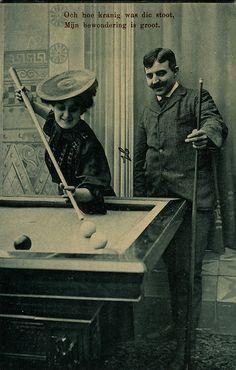 Set of 6 Billiard Sports Man Flirting with Lady Vintage Photo Postcard 1907   eBay