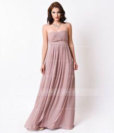 3fe9908ecd05c Classical Strapless Pleatded Bodice Long Chiffon Birdesmaid Dress Tan  Bridesmaids, Bridesmaid Dresses, Wedding Dresses