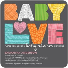 This invitation is perfect for Baby Love!