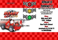 Roary the Racing Car Party Invitations