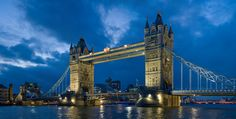 Tower Bridge, right next to London Bridge.  Over the River of Thames.  London, England.
