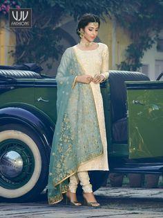 Buy Blue Jacquard Suit, Designer Palazzo Suit - VJV Fashions Dress Indian Style, Indian Dresses, Indian Outfits, Shadi Dresses, Indian Clothes, Indian Wear, Light Blue Suit, Kurti Neck Designs, Churidar Designs