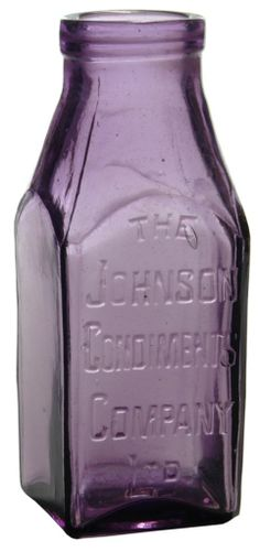 The Johnson Condiments Company Ltd. Square section small size pickle jar. Antique Glass Bottles, Bottles And Jars, Canning Jars, Mason Jars, Medicine Bottles, Decorated Jars, Vintage Bottles, Purple Glass, Glass Collection