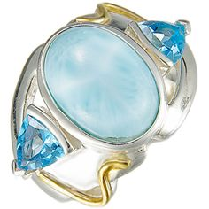 MarahLago - Larimar & Blue Topaz Lena Ring in Sterling Silver & 18k Yellow Gold - Sparkle like the Caribbean Sea! MarahLago, the first name in Larimar jewelry, matches elegance with style in this shining sterling silver and Larimar ring.