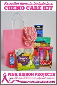 Pink Ribbon Projects ~ Essential Items To Include In a Chemo Care Kit The perfect gift for a cancer fighting friend is a chemo care kit. What should you include in a chemo care kit? Find out at Sparkles of Sunshine! Chemo Care Package, Cancer Care Package, Gifts For Cancer Patients, Breast Cancer Gifts, Ribbon Projects, Get Well Gifts, Cancer Support, Sparkles, Care Packages