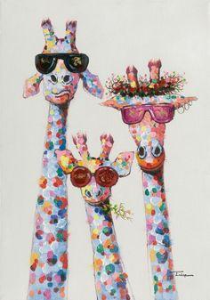 Produktinformationen Das Bild Giraffen am Morgen zeigt eine künstlerische Abbildung von drei Giraffen mit Sonnenbrillen vor hellgrauem Hintergrund. Auf Holz gezogen, erscheint das Bild in vielen verschiedenen Farben und erzeugt durch die spezielle malerische Art eine freundliche Atmosphäre im Raum. Setzen Sie mit diesem bunten Bild einen besonderen Akzent an der Wand!  Motiv: Tiere Giraffe Painting, Giraffe Art, Giraffe Drawing, Art Pop, Canvas Pictures, Art Pictures, Art Sketches, Art Drawings, Tableau Pop Art