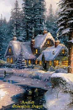 MOVING Snowing Christmas House Photo -