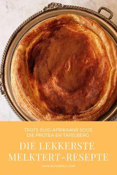 'n Outydse melktert sal die supermodel Kate Moss haar woorde laat sluk dat niks so goed kan smaak soos dit voel om maer te wees nie. Sy het nog nie 'n melktert uit die oond gehaal wat haar eie maaksel is nie. Custard Recipes, Tart Recipes, Best Dessert Recipes, Fun Desserts, Cooking Recipes, Melktert Recipe, Korslose Melktert, South African Recipes, Ethnic Recipes