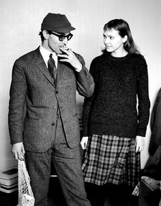 "Director Jean-Luc Godard and actor Anna Karina on the set of the 1964 French film ""Band Of Outsiders"