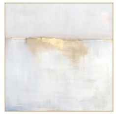 The simple composition of the horizon combined with the painterly strokes of clean whites, gold and soft blue grays make this painting absolutely breathtaking. The large scale of size makes it incredi