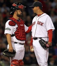 Game #31: Josh Beckett lasted just 2 1/3 innings in Boston's 8-3 loss to the Indians. He gave up 7 runs on 7 hits and 2 walks.  It was Beckett's shortest outing since Aug. 17, 2008.   Derek Lowe, one of the heroes of the 2004 World Series returned to Fenway for the first.  He handcuffed Red Sox batters with his sinker. He pitched 6 innings, scattering 9 hits and 2 runs.  Pictured:  Kelly Shoppach consoles Josh Beckett.    Who is going to console us?