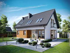 Projekt Liv 7 / całkiem fajny Home Design Decor, House Design, Cottage Extension, Small House Exteriors, Stucco Homes, Attic House, Prefabricated Houses, Village Houses, Architectural Design House Plans