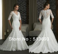 Mermaid New Arrival 2014 Girl Woman Lace Buttons Bridal Vintage Plus Size Wedding Dress with Sleeves: Mermaid ..great back coverage