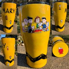 Charlie Brown and the Peanuts tumbler. Iconic yellow and Charlie Brown's stripe. Diy Tumblers, Custom Tumblers, Glitter Tumblers, Personalized Tumblers, Charlie Brown Christmas, Charlie Brown And Snoopy, Country Girl Quotes, Girl Sayings, Snoopy Gifts
