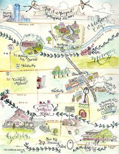 Custom Wedding Map Calligraphy and Watercolor by CaligrafiaBella