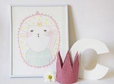 Mini affiche - Mister Cat - Décoration / Maison / Chambre - Enfants - Imprimé graphique : Affiches, illustrations, posters par charlotteandtheteapot