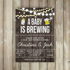 A BABY is BREWING Baby Shower Invitation - Co-Ed Baby Shower - Beer &…