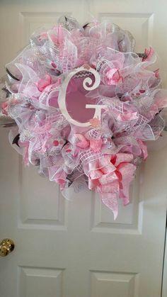 Large Mesh Wreath Baby Girl Shower Nursery Hospital Door Room Decor Pink White Grey Personalized Monogram Initial Polka Dot Ribbon