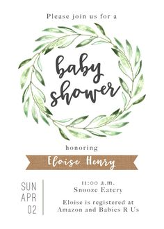This listing is for a printable, one-sided baby shower invitation with gender-neutral, rustic, olive wreath design and burlap accents in a high resolution PDF format. This ready-to-print, personalized, digital baby shower invite is a lovely way to celebrate a new mom-to-be!   W H A T  S _ I N C L U D E D • • • • • • • • • • • • • • • • • • • • • • • • • •  - 5x7 single-sided invitation  Your printable invitation is personalized and emailed to you for self-printing. This is a listing for a…