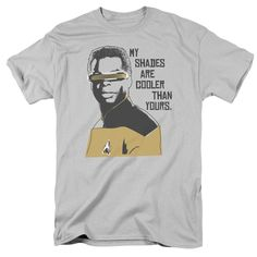 The Star Trek: The Next Generation - Cooler Shades Adult T-Shirt is officially licensed, made of 100% pre-shrunk cotton and available in silver. Whether you're a Star Trek: The Next Generation Super f