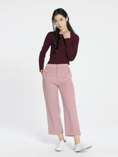 6100c6566b1c Lee Straight Leg Corduroy Pants - Pink - Pomelo Fashion