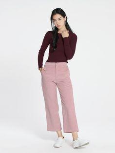 "Shop ""Lee Straight Leg Corduroy Pants - Pink"" at pomelofashion.com"