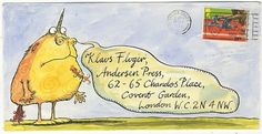 Illustrated envelopes by Axel Scheffler, Posy Simmonds, David McKee, Tony Ross and more