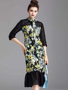 Ethnic Frenum Neck Floral Print Mesh Falbala Mermaid Dress; Size: S,M,L,XL; Color: Multi; Material: Polyester; Style: Casual; Silhouette: Trumpet / Mermaid; Pattern Type: Print; Decoration: Ruffles; Dresses Length: Mid-Calf; Sleeve Style: Regular; Sleeve Length: Three Quarter; Waistline: Empire; Neckline: Bow; ; Price: US$ 63.99