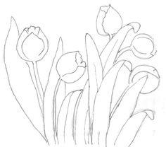 risco pintura em tecido tulipas