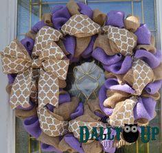 Fall Burlap Wreath Purple Burlap Wreath Country by DallyUpBoutique