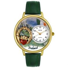 Whimsical Watches Unisex Ireland Hunter Green Leather and Gold Tone Watch