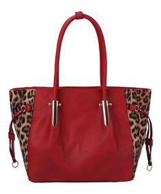 Look what I found on #zulily! Red Leopard-Accent Tote by Handbag Republic #zulilyfinds